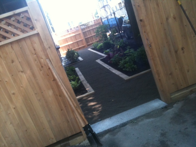 West End Courtyard installation - stone dust walkway with plantings