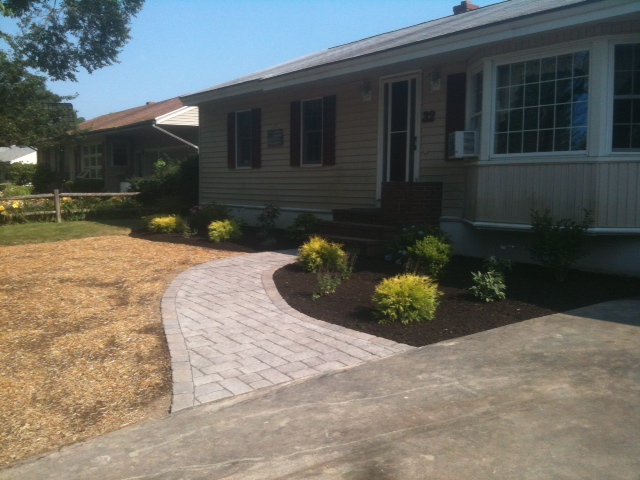 New walkway and landscaping