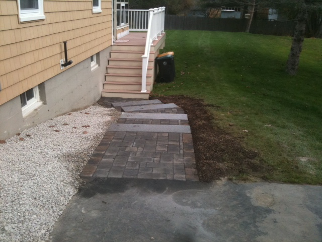 Tiered walkway with granite steps