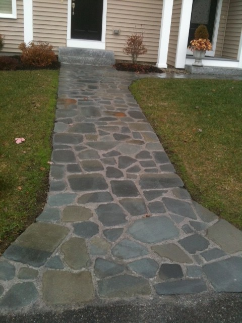 Irregular blue-stone walkway